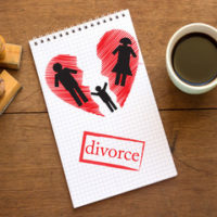 paper that reads divorce with a heart