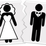 Image a divorced couple demarcated by torn picture