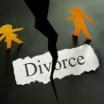 Floor cracked with divorce sign
