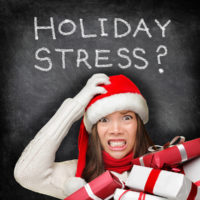 Woman stressed out about holiday shopping