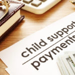 Child support payments. Documents in a court.