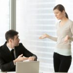 Woman explaining reason for being late for work